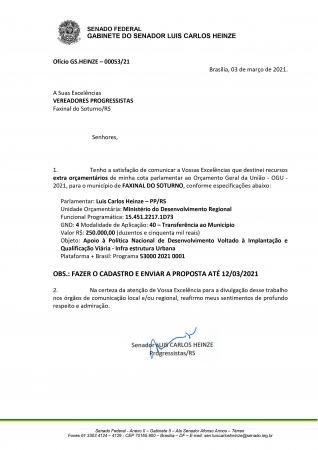 Senador Luis Carlos Heinze delibera recurso extra para o Município de Faxinal do Soturno
